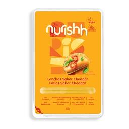 Fatias de especialidade vegan nurishh cheddar