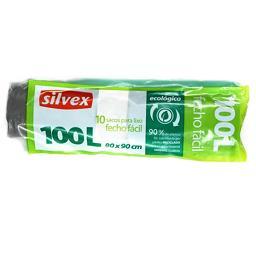 Sacos de lixo 100l, ecológico, fecho fácil, 10 unida...