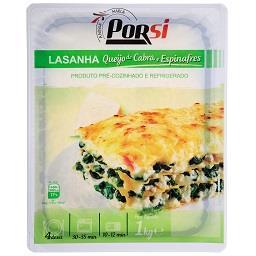 Lasanha com queijo de cabra fundido e espinafres