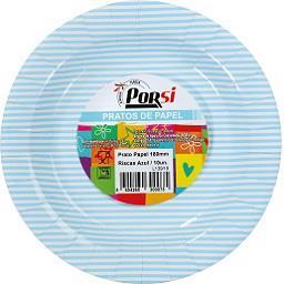 Pratos de papel riscas azuis 18 cm
