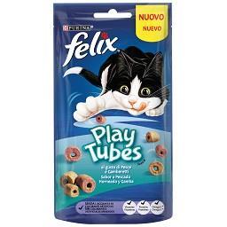 Snack para gato com sabor a camarão Play Tubes