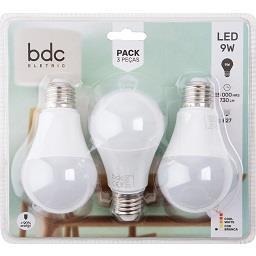 Pack de 3 lâmpadas 9W LED E27