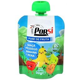 Saqueta de puré de fruta | maçã + pêssego + banana +...