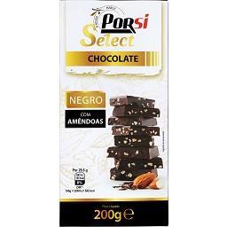 Tablete de chocolate negro com amêndoas