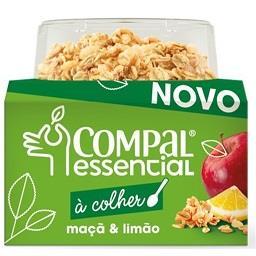 Compal essencial à colher de maçã e limão com cereai...