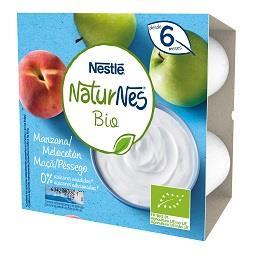 Alimentação láctea maçã e pêssego bio