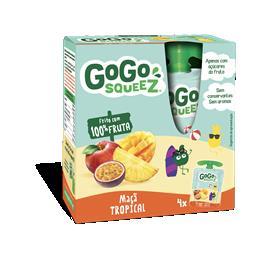 Gogosqueez snack de maçã e frutos tropicais 4x90g