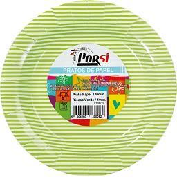 Pratos de papel riscas verdes 18 cm