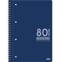 Caderno A4 com espiral universitário 80 folhas quadr...