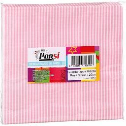 Guardanapos com riscas rosa | Dim.: 33 x 33 cm