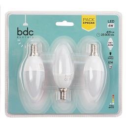 Pack de 3 lâmpadas 6W LED E14