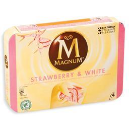 Gelado magnum morango e chocolate branco