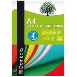 Bloco de cartolinas A4 com 25 folhas sortidas