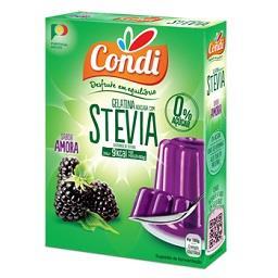 Gelatina com stevia, amora