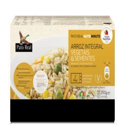 Arroz integral, vegetais e sementes pré-cozinhado