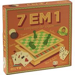 Conjunto jogos de tabuleiro em madeira 7 em 1