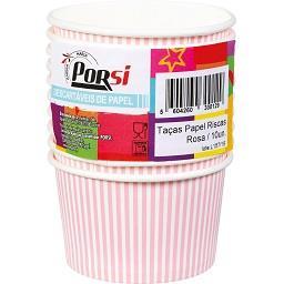 Taças de papel riscas rosas 20 cl