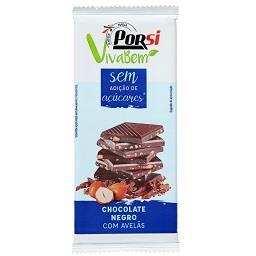 Tablete de chocolate negro com avelãs - sem açúcar