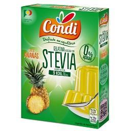 Gelatina com stevia, ananás