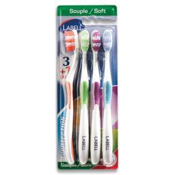 Escova de dentes proteção suave, 4 unidades