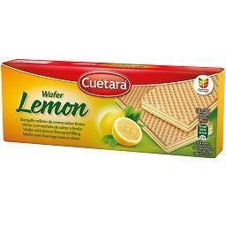 Bolachas waffers com recheio de limão