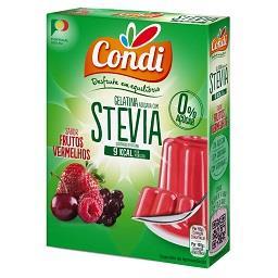 Gelatina com stevia, frutos vermelhos