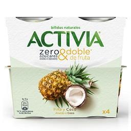 Iogurte zero açúcares com ananás e coco