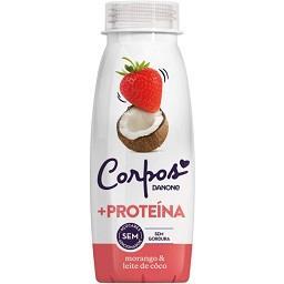 Iogurte líquido de morango e leite de côco sem açúca...