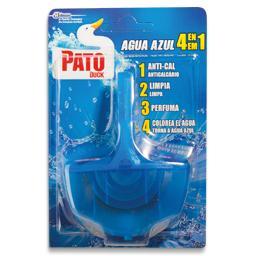 Bloco sanitário azul, com suporte