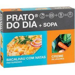 Bacalhau com natas + creme de legumes