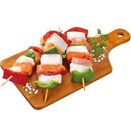 Espetada de peixe salmão/pota