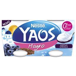 Iogurte grego magro com mirtilo e linhaça