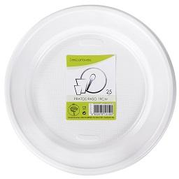 25 pratos brancos 19cm