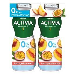 Iogurte activia líquido 0% de pêssego/maracujá