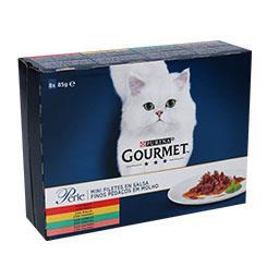 Comida húmida para gato finos pedaços em molho