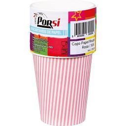 Copos de papel riscas rosas 20 cl