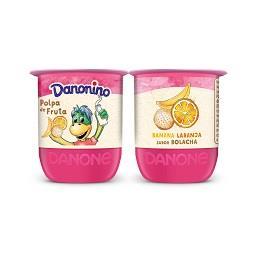 Iogurte danonino polpa de banana/laranja/bolacha
